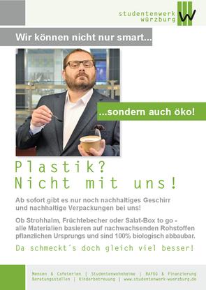 Das Studentenwerk Würzburg setzt auf biologisch abbaubare Materialien
