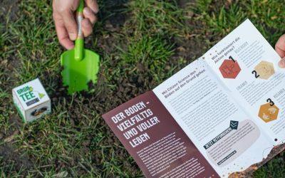 Bodenforschung mit Teebeuteln, Schaufel und Smartphone